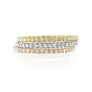 Bague 3 ors formée de 3 anneaux sertis grains de diamants - 1,20 carat
