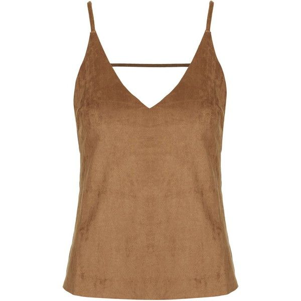 TOPSHOP **Deep V Vest Top by Glamorous Petites ($32) ❤ liked on Polyvore featuring tops, petite, tan, brown tank, brown tank top, topshop tops, petite tops and tan tank top