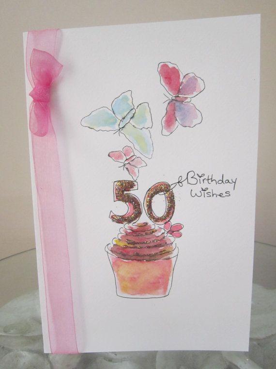 50th Birthday Card Watercolour Original Blank By AngelAtMyEasel
