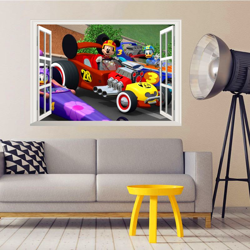 Cartoon Mickey Racing Car Wall Stickers For Kids Rooms Decor D - Wall decals carsracing car wall decal ideas for the kids pinterest wall