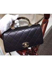 e686df0be026 Chanel Flap Bag With Enamel Handle Black Fall-Winter 2015/16 ...