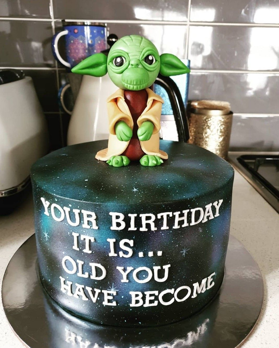 Stupendous Yoda Cake Star Wars Cake With Images Star Wars Birthday Cake Birthday Cards Printable Giouspongecafe Filternl