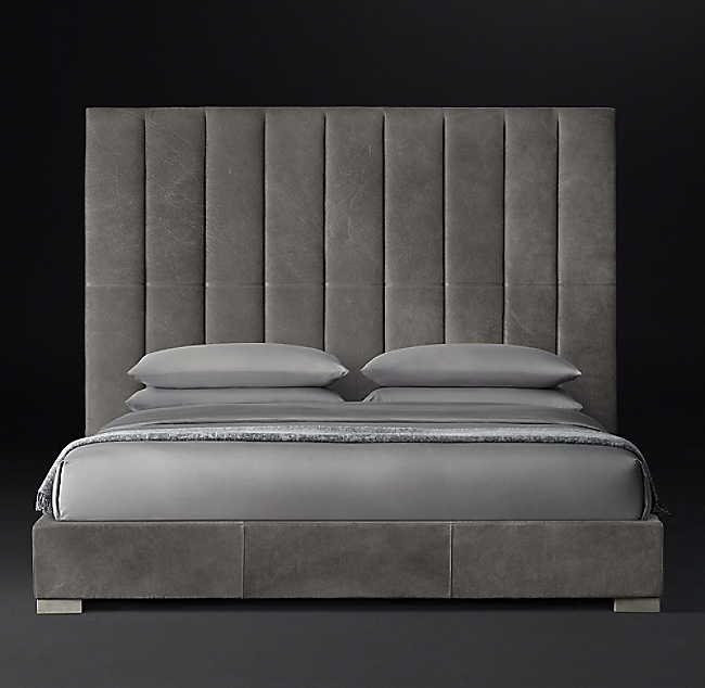 Modena Panel Vertical Channel Leather Platform Bed (With