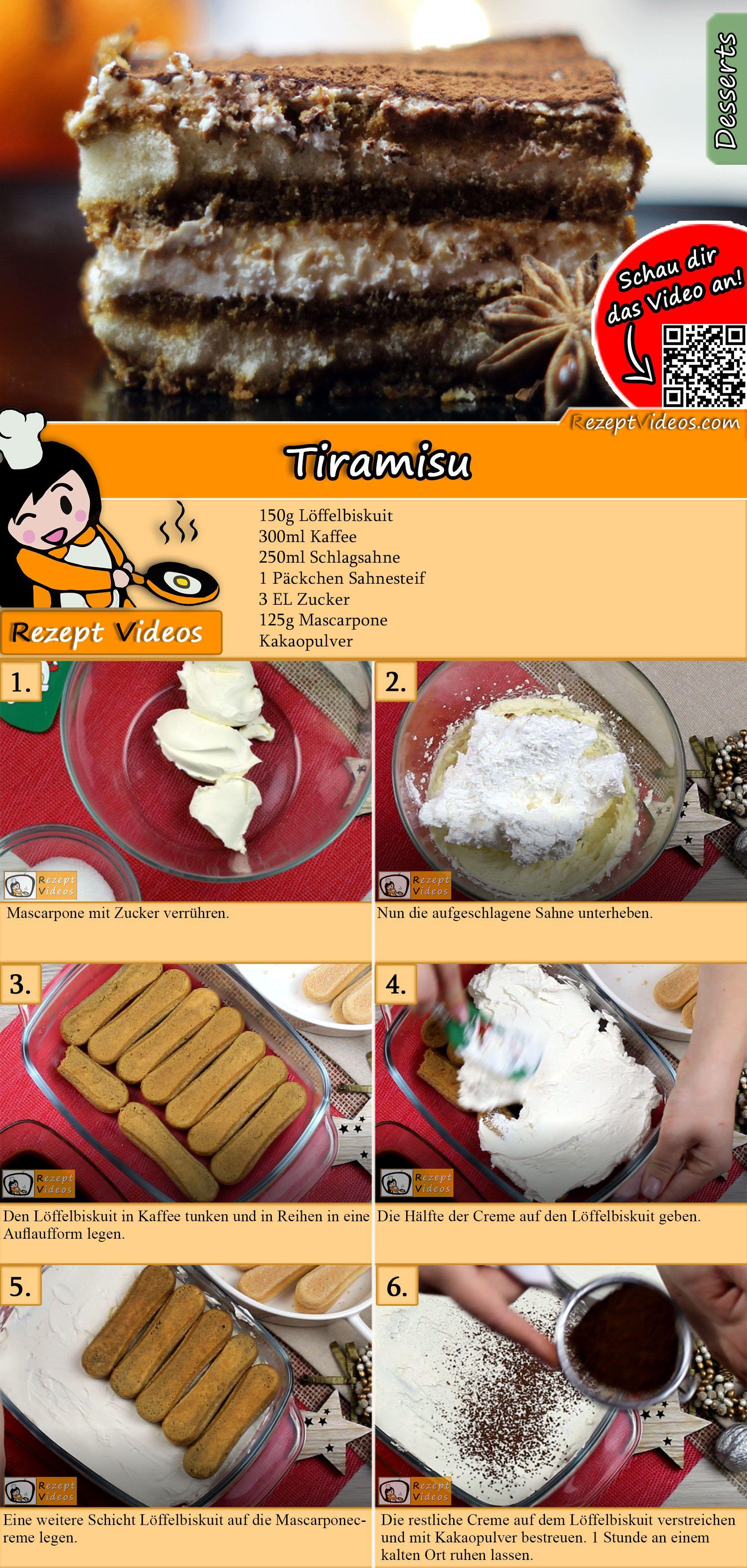 Tiramisu Rezept mit Video - Dessert Rezepte/ Nachtisch Rezepte