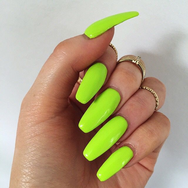 Color Lime Green Coffin Nails With Images Neon Nails Green