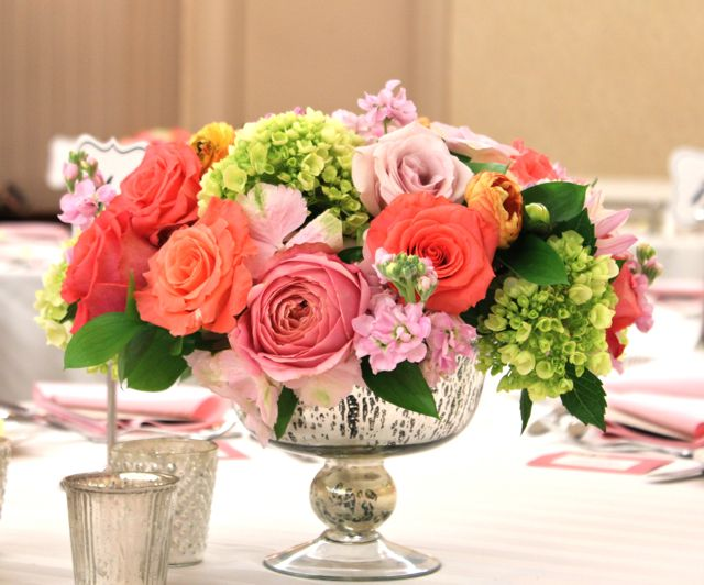 sweet pea floral design - coral peach blush centerpieces in mecury