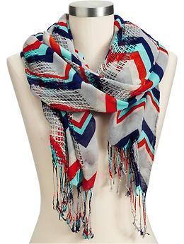 Women's Zig-Zag Print Open-Weave Scarves | Old Navy - red / orange, teal, gray, navy blue