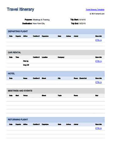 Business Itinerary Template With Meetings Download The Travel Itinerary From Vertex42  Craft Ideas .