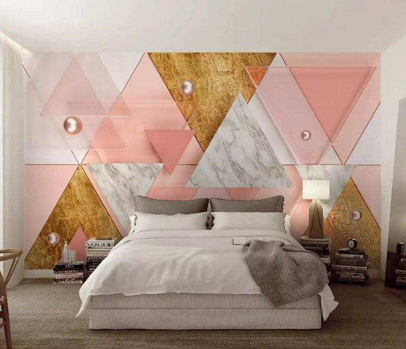 3d Abstract Pink Gold Geometric Shapes Wallpaper Removable Etsy In 2021 Wallpaper Walls Bedroom Paper Room Decor Picture Wall Bedroom