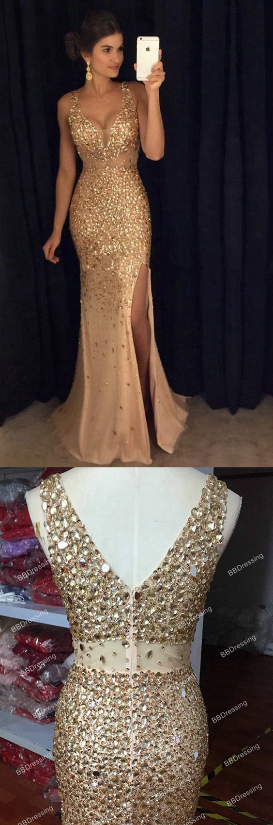 sexy long crystal beaded prom dress with slit mermaid prom