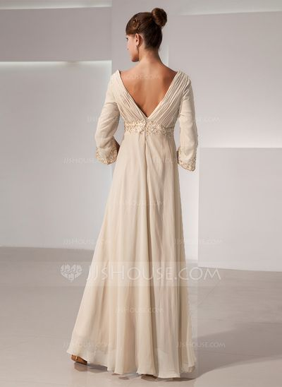 a2d838ad3f Empire V-neck Floor-Length Ruffle Beading Zipper Up Sleeves 3 4 Sleeves  Champagne Fall General Plus Chiffon Mother of the Bride Dress