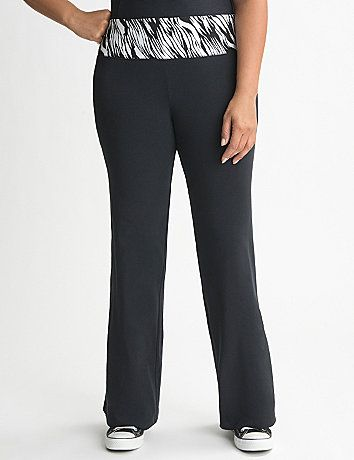 Colored zebra print amps up the glam factor on our comfy yoga pant. Soft, stretchy and comfortable for a great workout or lounging in cozy style. Pull-on style with an elastic waist. lanebryant.com