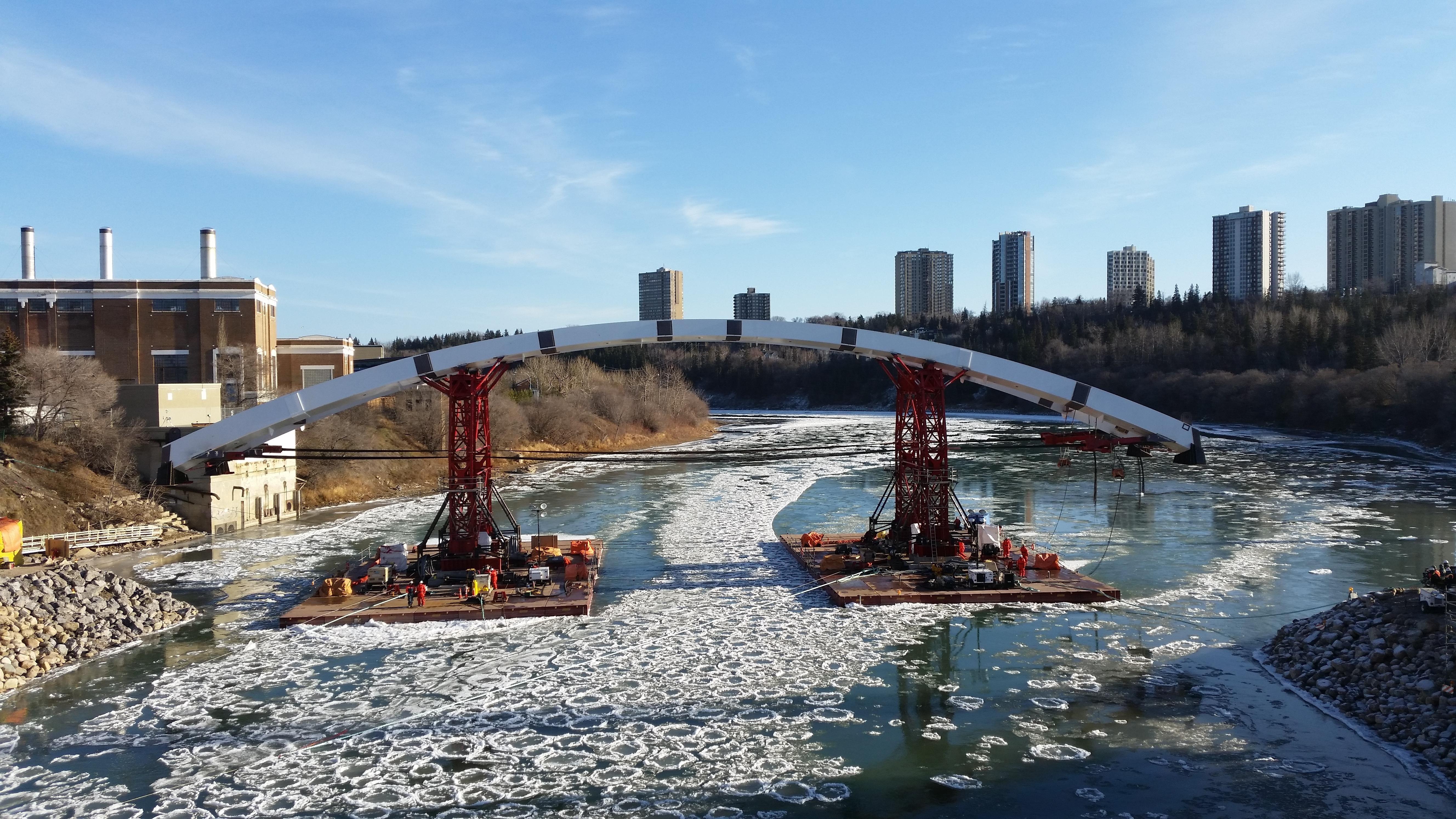 Navigation of the new Walterdale bridge in Edmonton, 1000