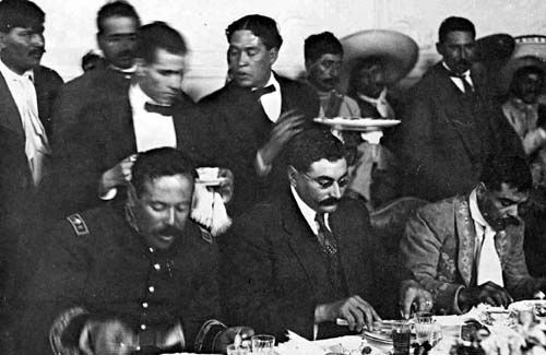 Pancho Villa, Provisional President of Mexico, Eulalio Gutiérrez and Emiliano Zapata, during Convention of Aguascalientes, October 1914