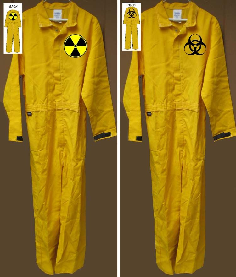 Zombie Biohazard Brown Jumpsuit Mask Halloween Adults Mens Fancy Dress Costume
