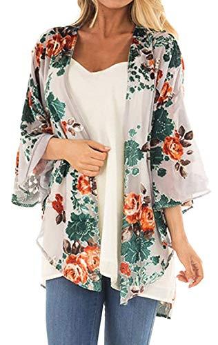 Women's Floral Print Puff Sleeve Kimono Cardigan Loose Cover