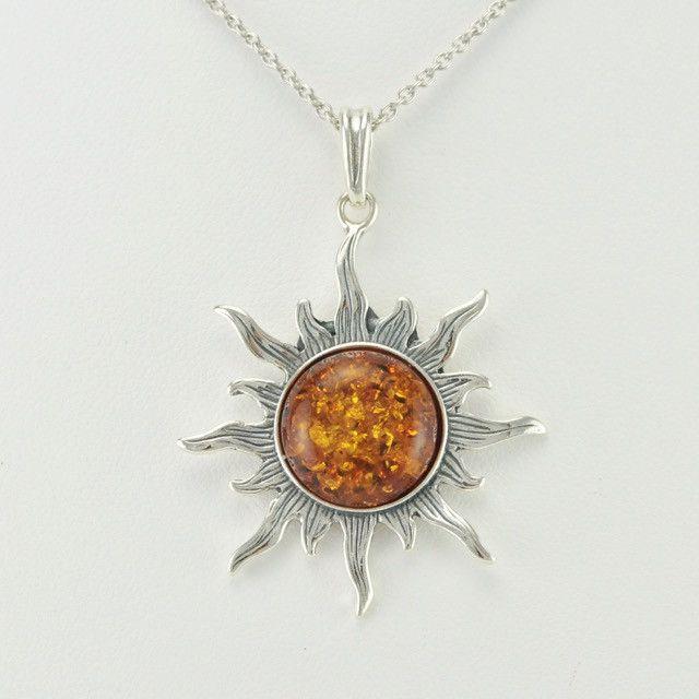 Large Sterling Silver & Baltic Amber Sun Pendant/Pendants Eya0R9URTO