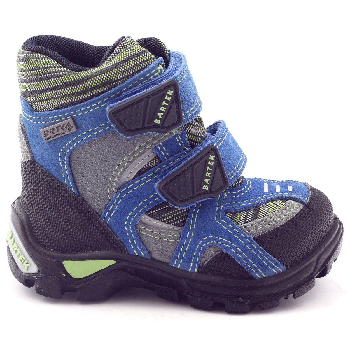 Kozaczki Dla Dzieci Bartek Zielone Niebieskie Czarne Trzewiki Z Membrana Bartek 91929 Szare Boots Childrens Boots Kid Shoes