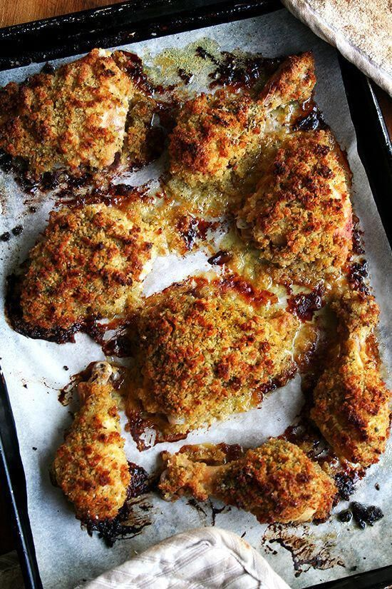 Ina Garten's Dijon Mustard Roasted Chicken Thighs: After marinating in dijon mustard and buttermilk, these mustard roasted chicken legs are topped with a layer of herbed bread crumbs, which crisp up beautifully in the oven and taste absolutely divine.