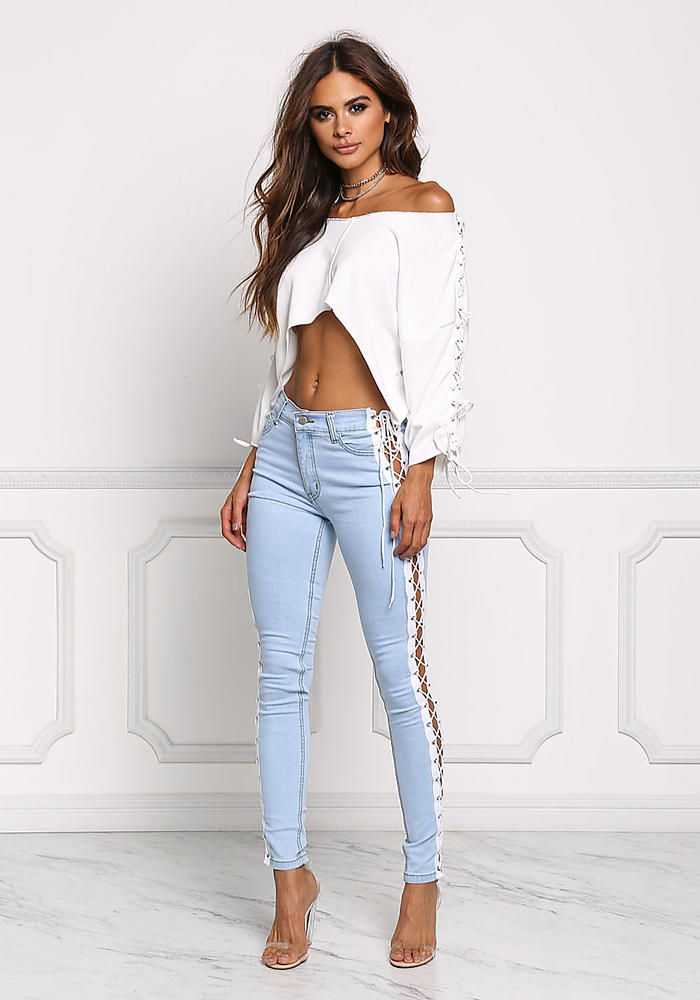 Light Denim Side Lace Up Skinny Jeans Denim Bottoms Clothes Going Out Pinterest