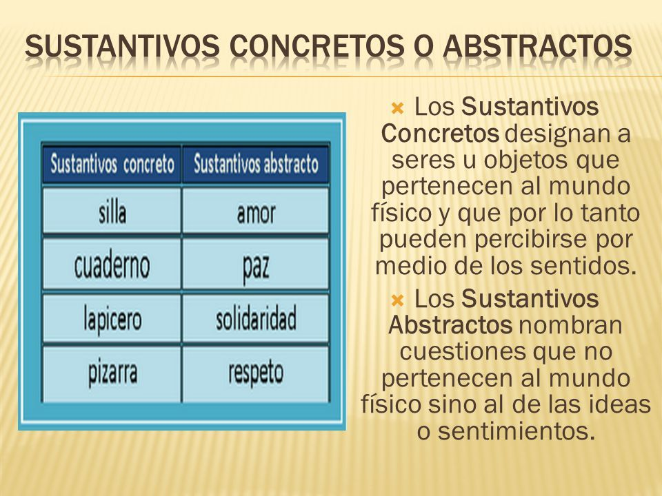 Definición Y Ejemplos De Sustantivos Concretos Y Abstractos Sustantivos Concretos Y Abstractos Sustantivos Concretos Sustantivos Abstractos