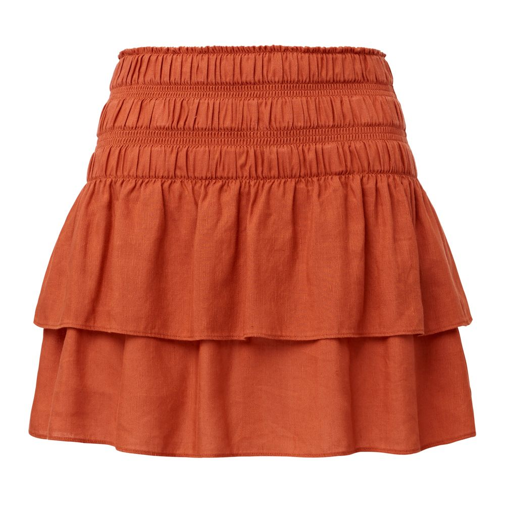 607a9a1f30 Linen/Tencel Rah Rah Skirt. Fitted yet comfortable silhouette features  elasticised waistband and layered mini skirt. Available in Clay as shown.