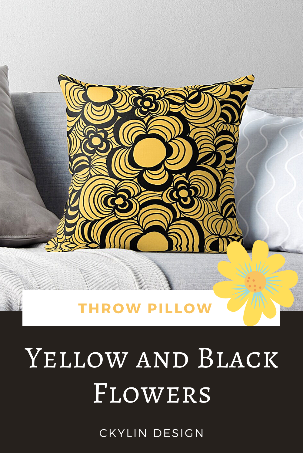 Yellow and black floral print originally made in just white and black. But, with some editing, voila. These patterns are a lot of fun to make! Might be that this color floral pattern is on the bold side. Some flowery designs for summer maybe?  #interiordesign #interior #homedesignideas #flowerpillowcase #interiordesigner #couchdecor #cushion #interiorinspo #interiorstyle #interiorinspiration #interiordecorating #pillows #pillowdesign #throwpillow #sofapillow #flowerdesigns