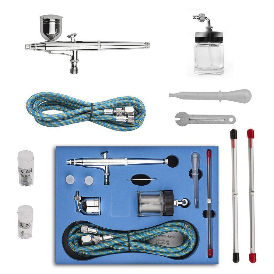 Dual Action Airbrush 0.2//0.3//0.5mm Nail Art Paint Spray Makeup Gravity Kit Tool