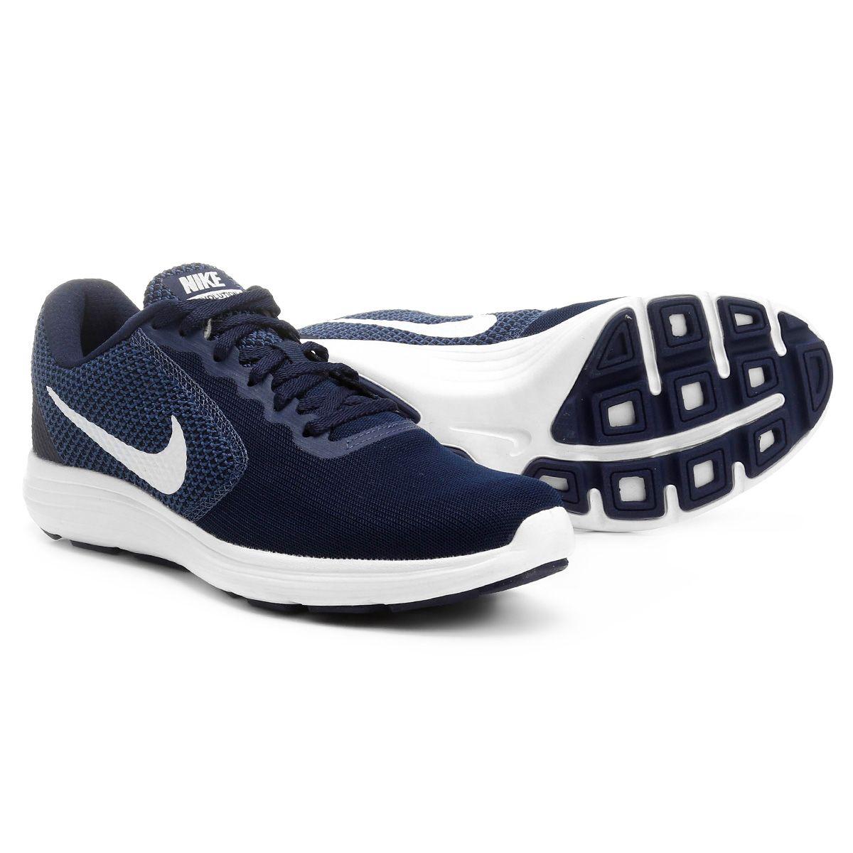 80665b6ec3 Tênis Nike Revolution 3 Masculino - Marinho e Branco em 2019 | Lista ...