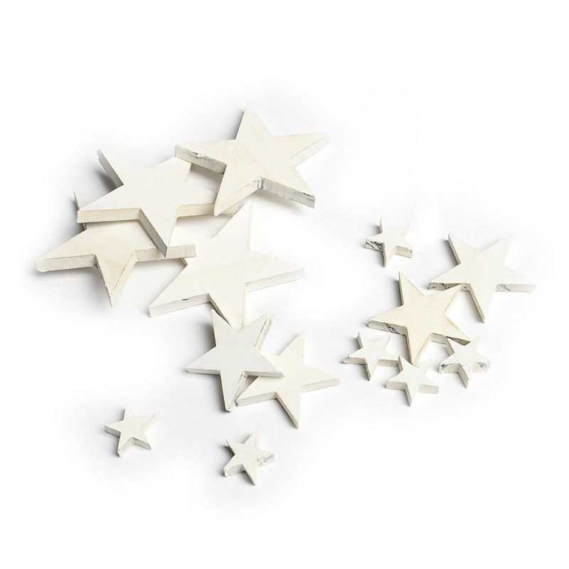 14er Set Streuartikel Stern Holz Weiß