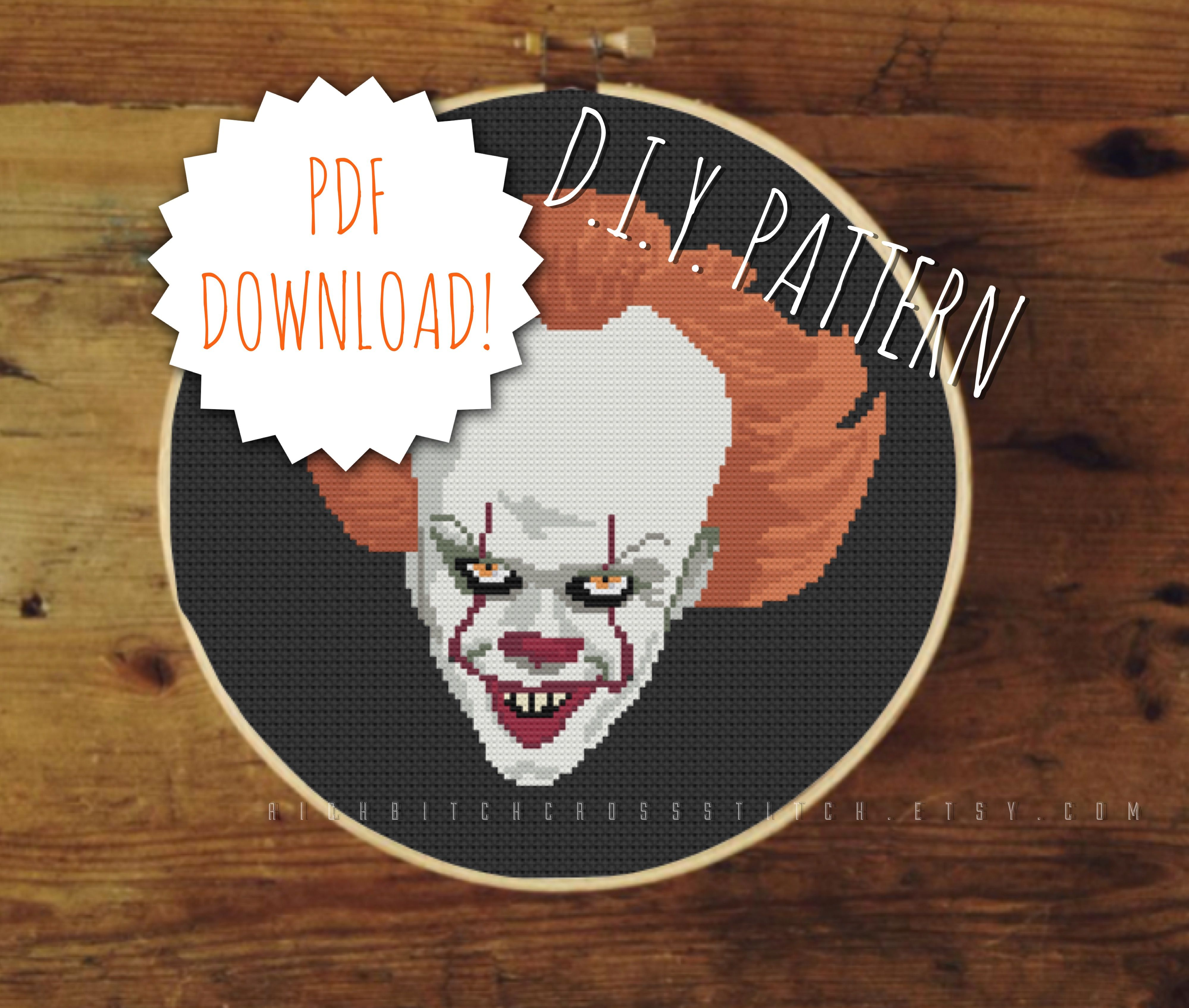 Design 2 Cross Stitch Chart Pennywise IT Steven King