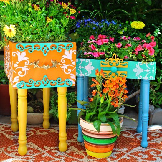 TrashtoTreasure Garden Planters (Craft Gawker) is part of garden Planters Painted - Turn roadside rescue drawers and chairs into colorful garden planters!