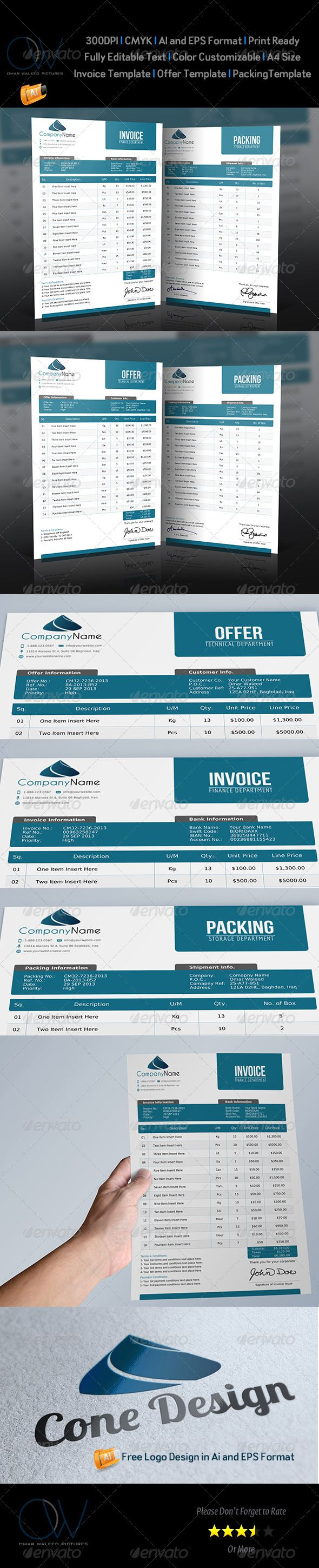Offer and Packing and Invoice Template Vol1