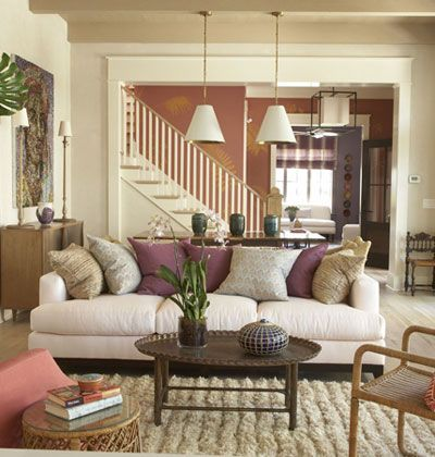 Furniture And A Statement Making Rug Create Comfortable Family Room In This Wide Open E Flea Market Vintage Finds Such As The Rattan Chair