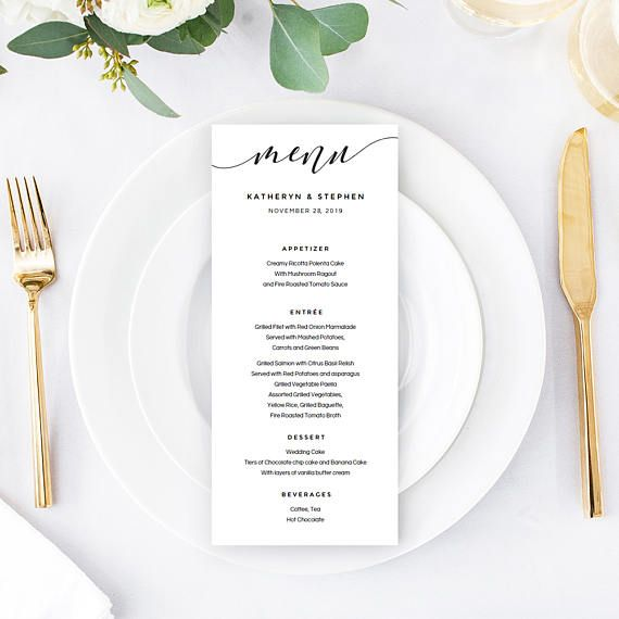 Calligraphy Wedding Menu Template Download, Printable  Editable