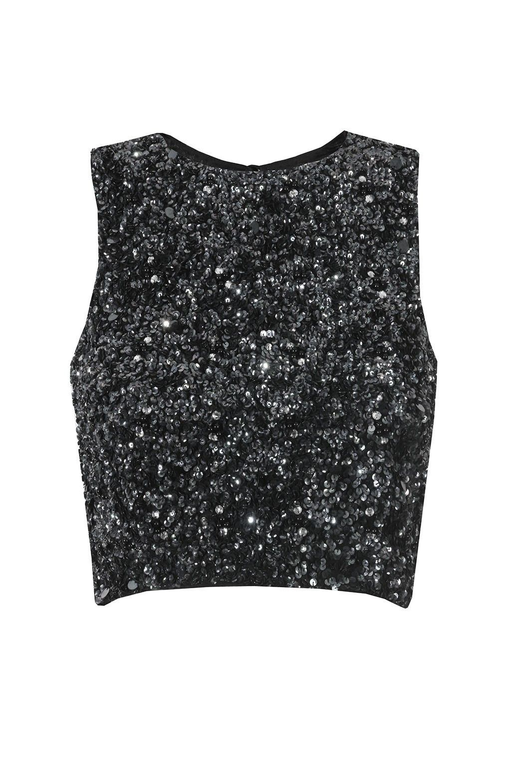 a61fa9beae5d3 Lace   Beads Picasso Black Sequin Top