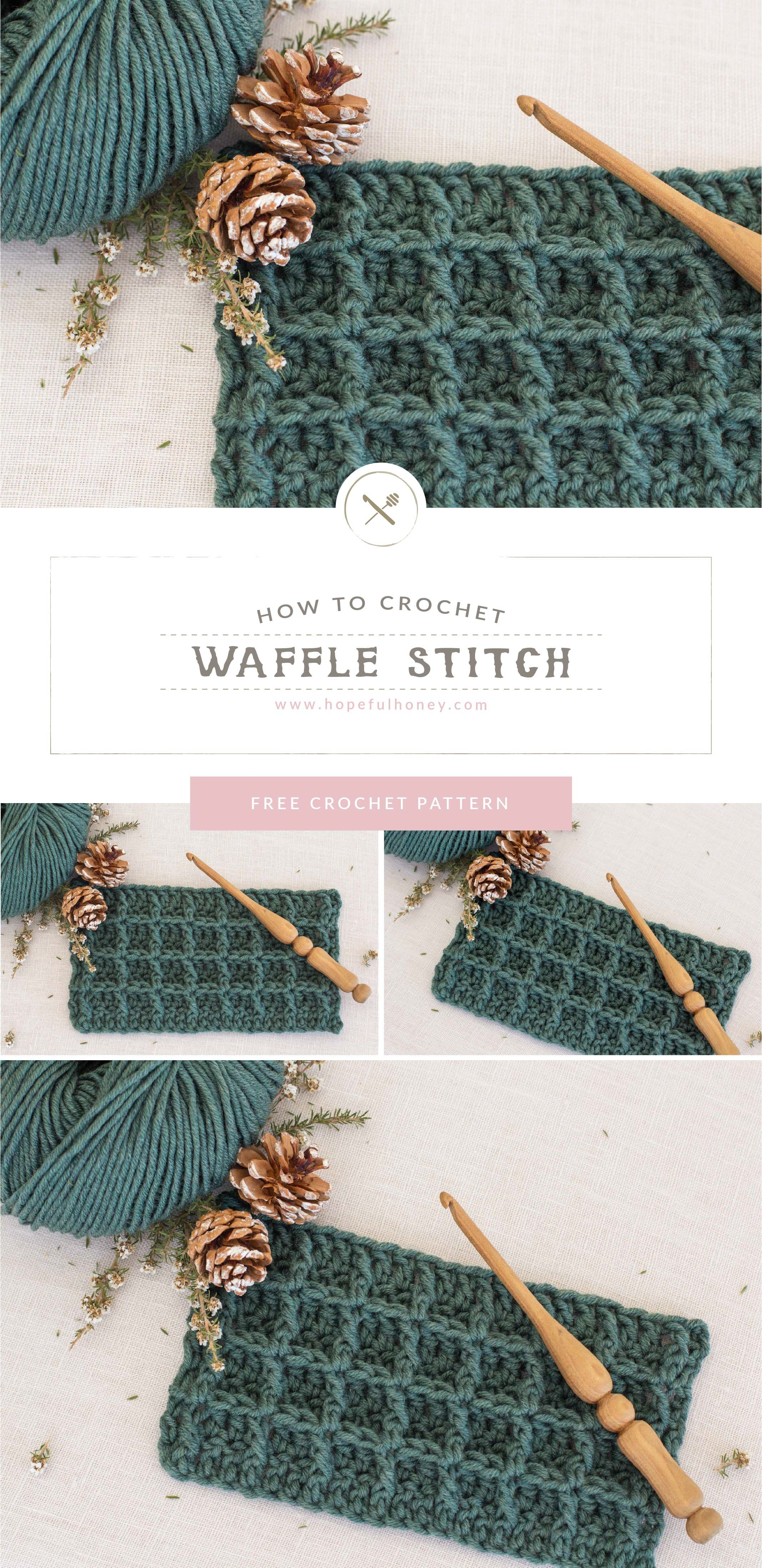 How To: Crochet The Waffle Stitch - Easy Tutorial by Hopeful Honey