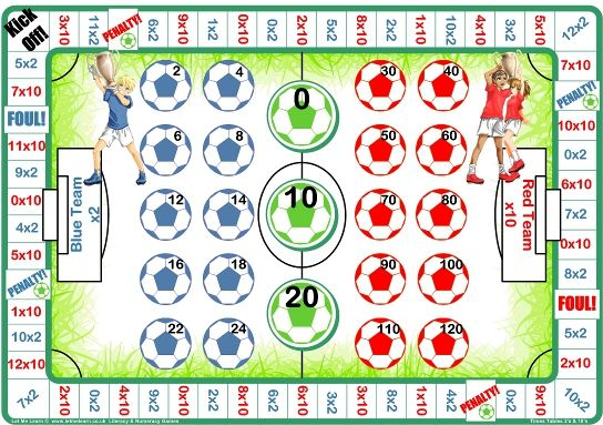 Sample 2x 10x Football Times Table Board Game Red Blue Times
