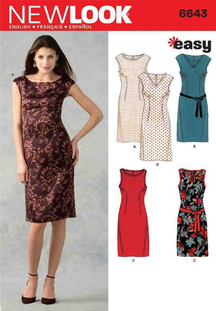 New Look 6643 Sewing Pattern Shift Dress With Neck Options Ladies ...