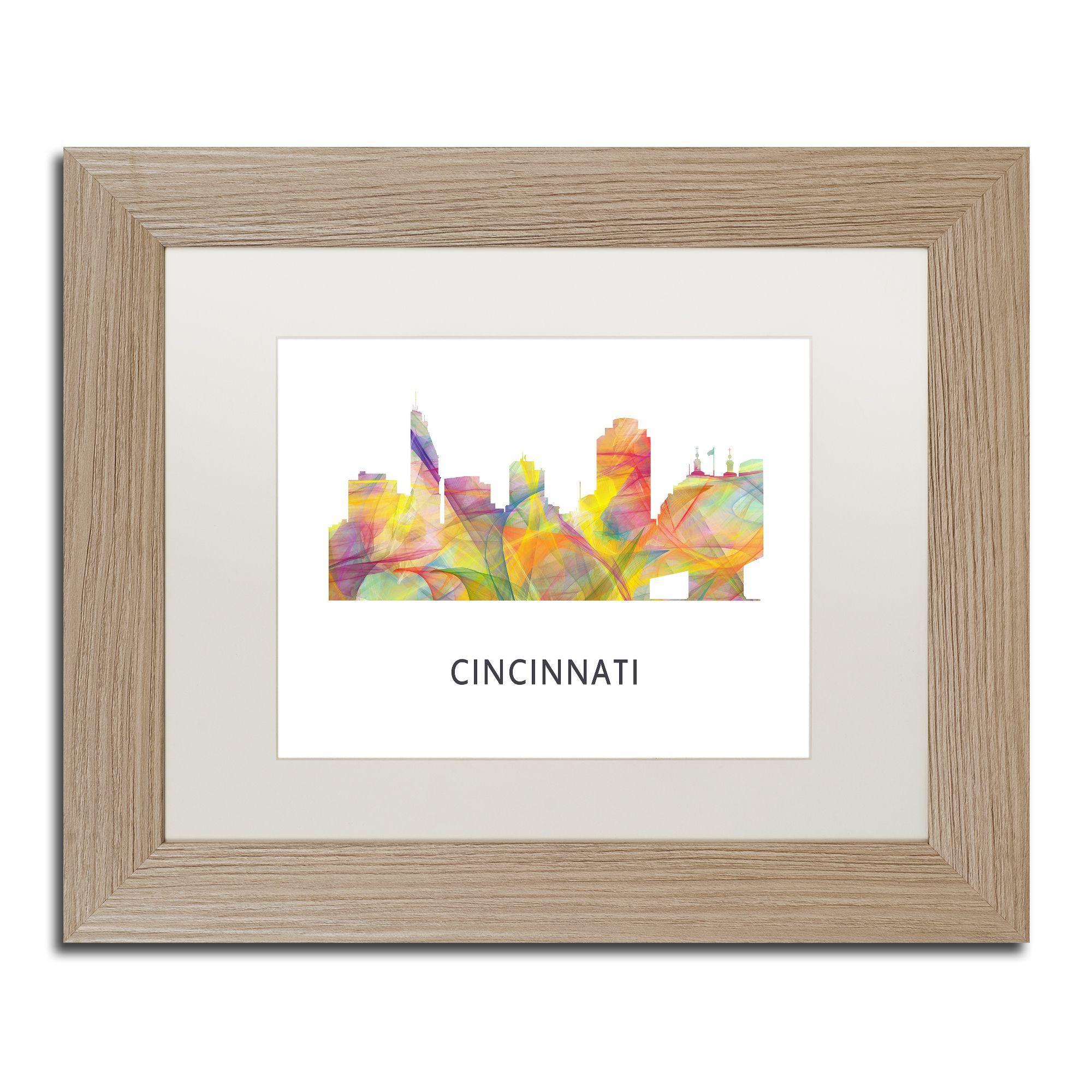 Marlene Watson \'Cincinnati Ohio Skyline WB-1\' Matted Framed Art ...