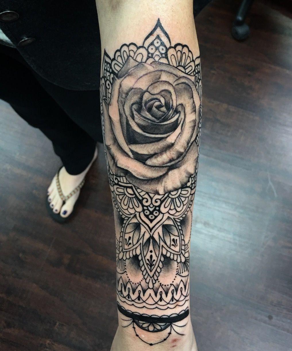 Rose Mandala Tattoo : mandala, tattoo, Mandala, Tattoo, Realistic, Rose!, 😍😍😍, Tattoos,, Tattoo,, Design