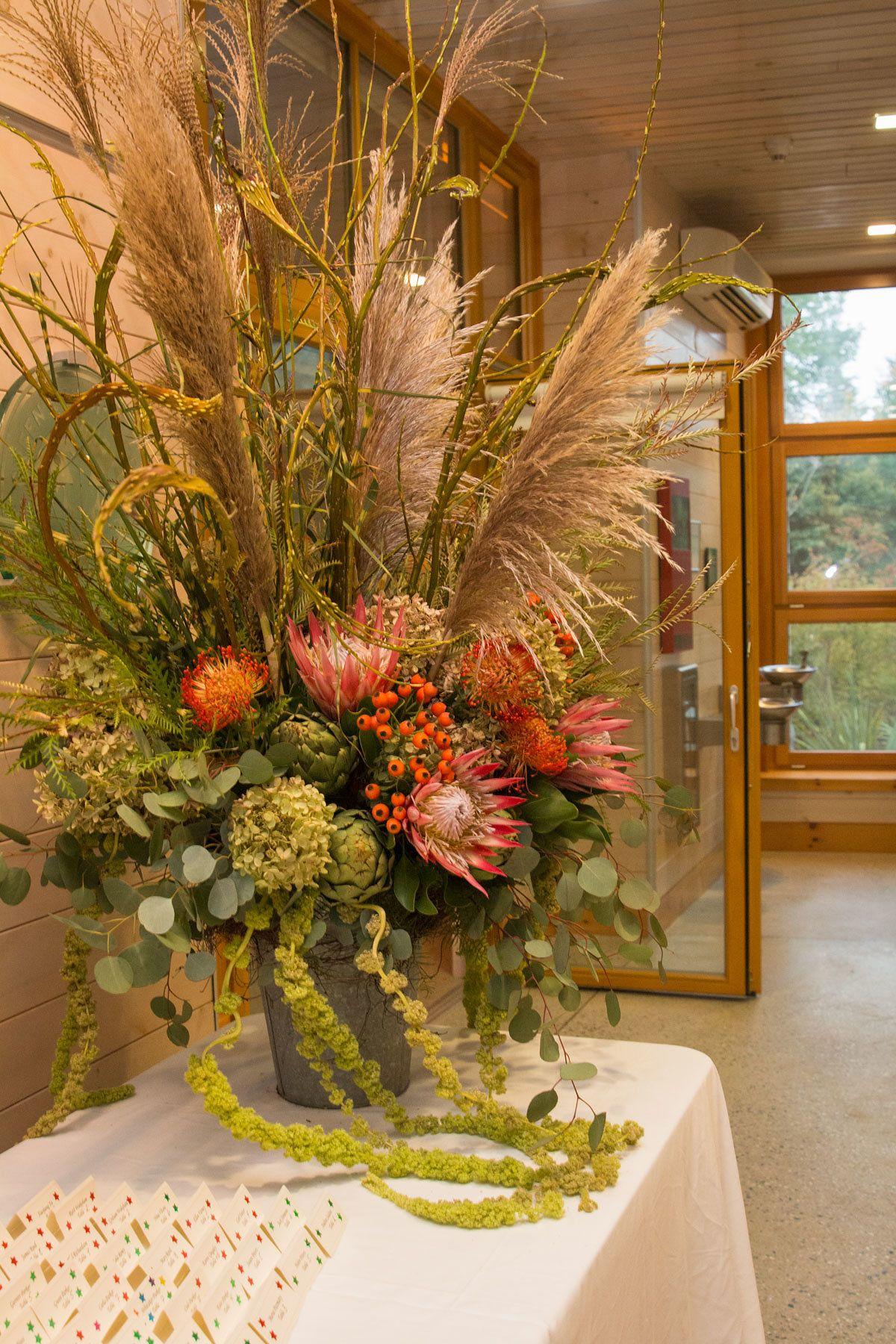 Rustic Arrangement Of King Protea Pampas Grass Fantail Curly Willow Rose Hips Hydrangea Silver Dollar Eucalyptu In 2020 Pretty Flowers Rustic Arrangements Flowers