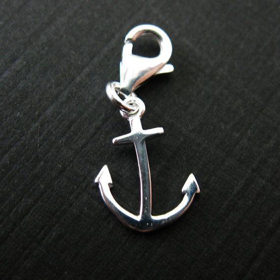 Breloque en argent sterling charme Bracelet Charms - Charm de charme - 11,5 mm - ancre avec fermoir - nautique - 291203
