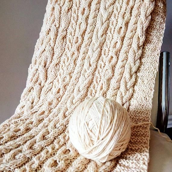Cable Knit Blanket Queen.Cable Hand Knit 90 X92 Cashmere Woolen Blanket Ready To