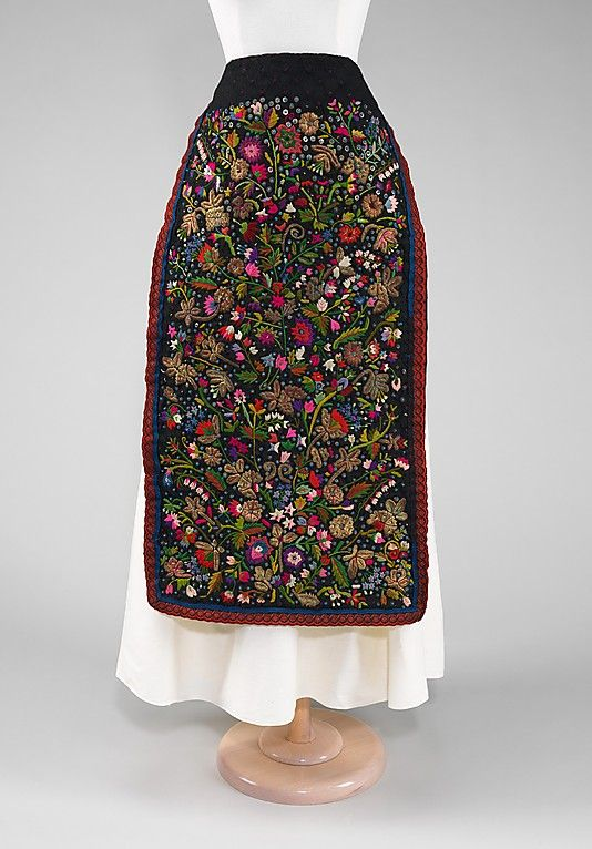 Apron    Date:    fourth quarter 19th century;   Culture:    Hungarian;   Medium:    silk, metal, linen, glass;   Credit Line:      Brooklyn Museum Costume Collection at The Metropolitan Museum of Art
