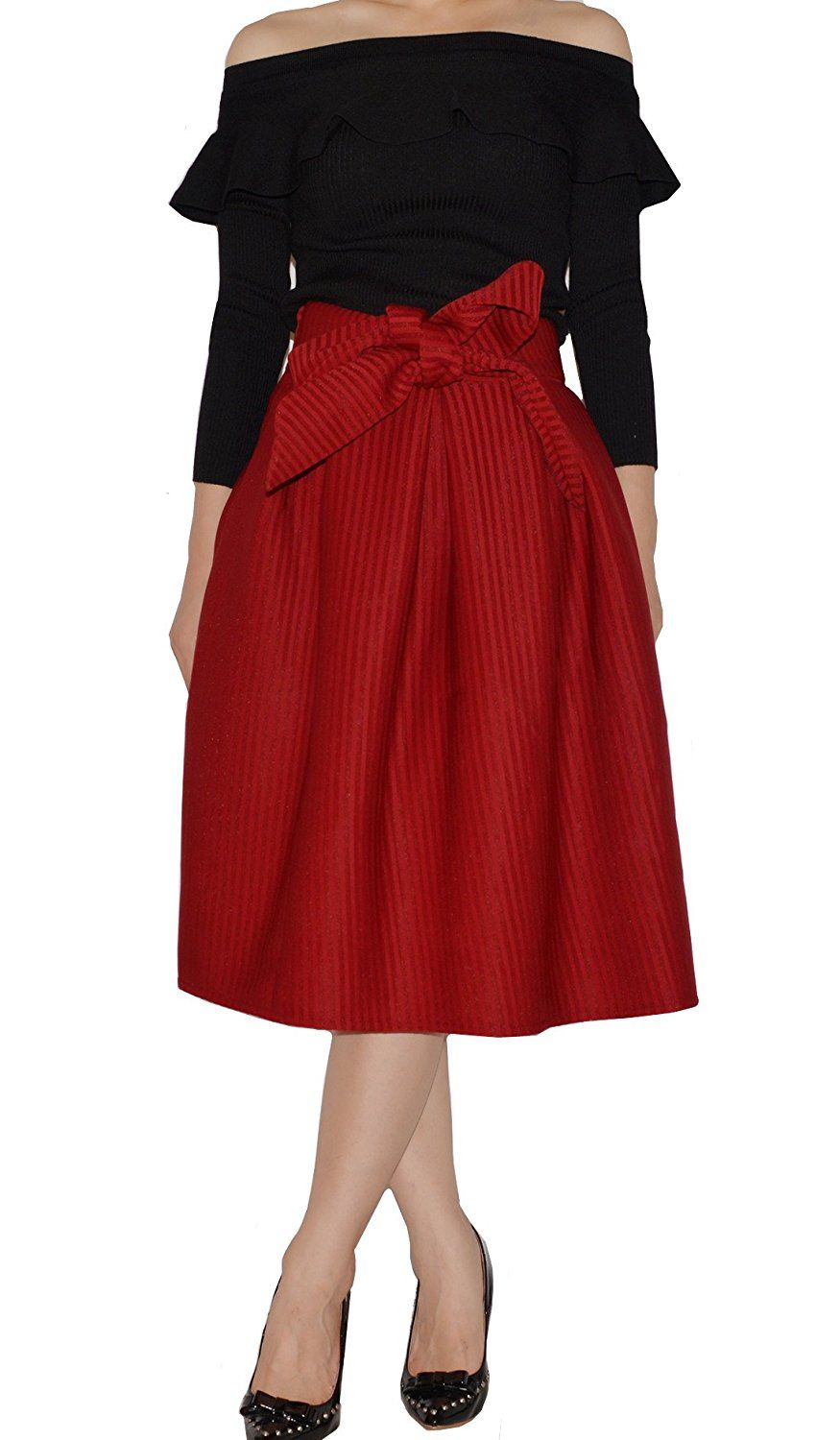YSJ Women's Midi Skirt Striped High Waist A-Line Pleated Party Skirts ** Be sure to check out this awesome product.
