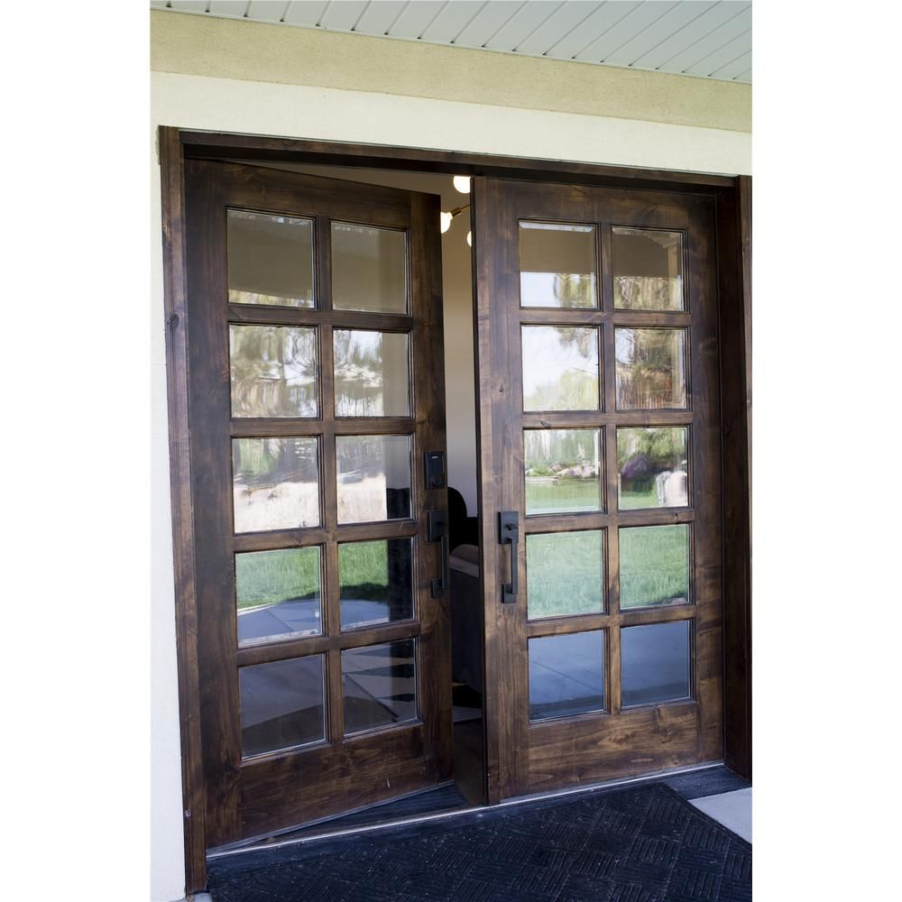 Krosswood Doors 32 In X 80 In Classic French Alder 10 Lite Clear Low E Left Hand Inswing Unfinished Wood Exterior Prehung Front Door Phed Ka 410 28 68 134 Lh In 2020 French Doors Exterior French Doors French Doors