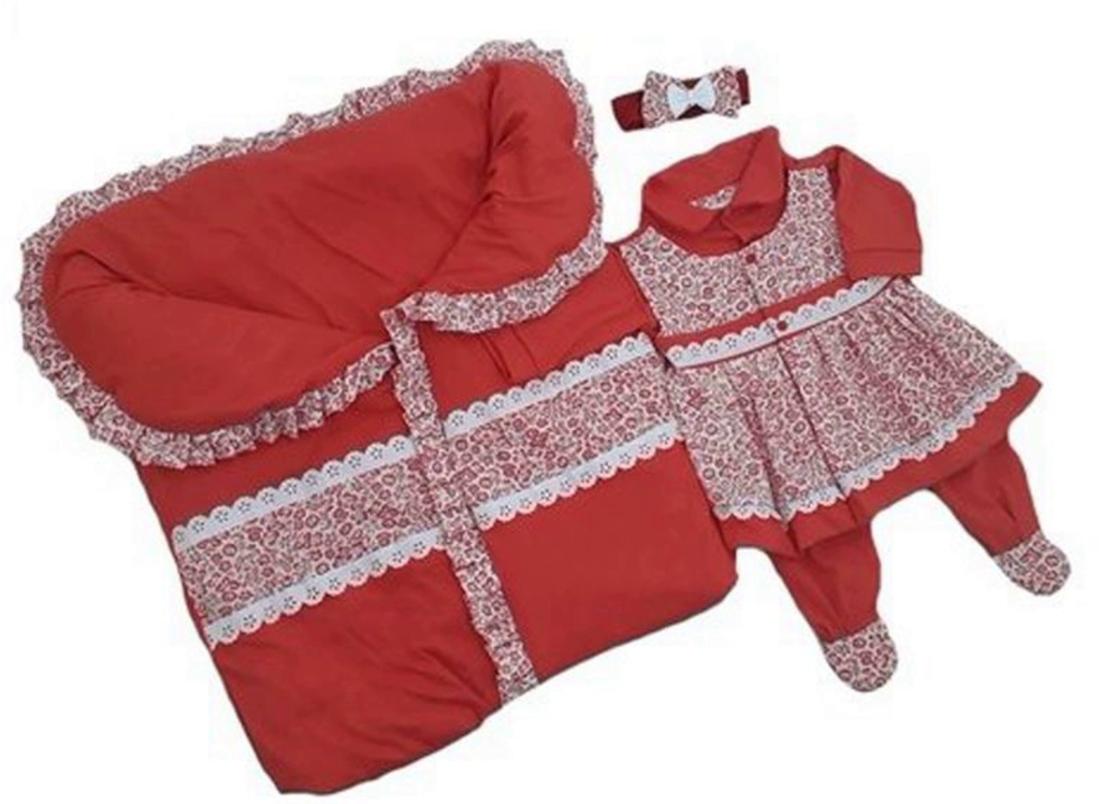 dd620d59d8fa Kit I9 baby Saída Maternidade Porta Bebê Vermelha Floral em 2019 ...