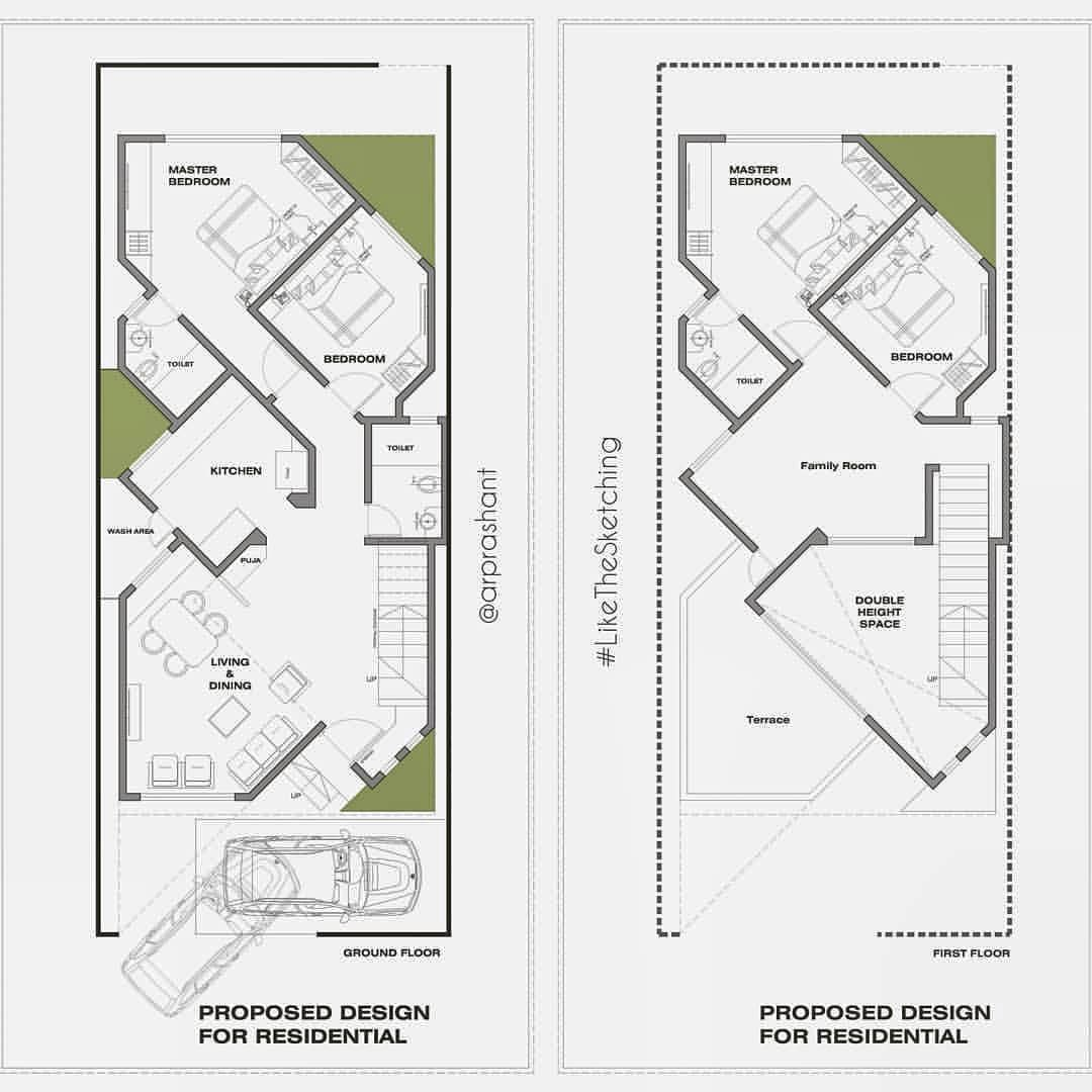 Architectural Drawing Series Designing A Residential Layout A Ground Plus One House On A Very Much Restricted Plot Trying To Achieve Casas