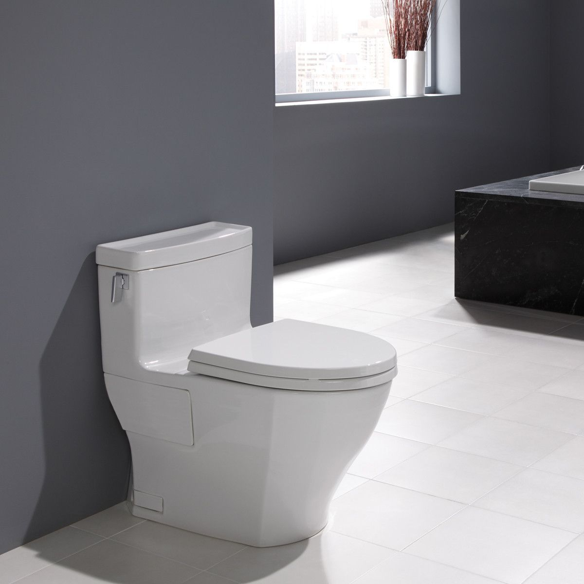 TOTO MS624214CEFG#01 Legato One-Piece Toilet, 1.28GPF, Elongated ...